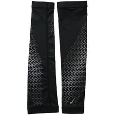 Nike Dri-Fit 360 Arm Sleeves 2.0 (Black/Silver) Athletic Sports... ($30) ❤ liked on Polyvore featuring activewear, activewear tops, nike sportswear, nike activewear, athletic sportswear, sports activewear and nike