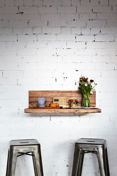 industrial style, vintage interior, white brick wall, metal stools