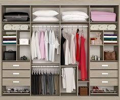 Replace the drawers with more shelves Bedroom Closet Storage, Master Bedroom Closet, Small Room Bedroom, Wardrobe Design Bedroom, Bedroom Wardrobe, Wardrobe Closet, Best Closet Organization, Closet Layout, Cupboard Design