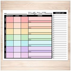 Colorful printable meal planning page for conveniently planning your weekly meals. Convenient printable weekly meal planning pages designed with a rainbow color scheme. The days of the week are multic