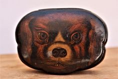English Paper Mache Snuff Box. Spaniel Dog Face. Mid 19th Century. with some losses to the face and. this box is in fine age related condition. cracking to the rear by the hinge. (SEE PHOTOS). | eBay!