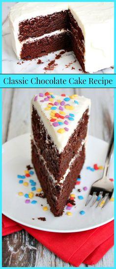 The Best Classic Chocolate Cake #Recipe - RecipeGirl.com