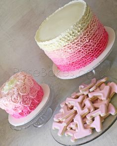 "Pink Ombre Ruffles Cake, Pink Ombre Roses Smash Cake and ""1"" Cookies for 1st Birthday"