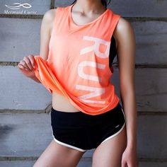 Mermaid Curve 2017 Letter Printing Sexy Women's Sports Vest Gym Loose Yoga Fitness Vest Outdoors Workout Jogging T-shirts Sports Vest, Workout Vest, Sleeveless Crop Top, Tank Shirt, Shirt Price, Courses, Sports Women, Yoga Fitness, Sport Outfits