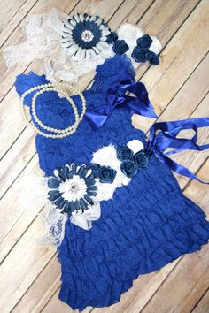 Petti Lace Romper Dress Blue White Dallas by CuddleBunnyCouture, $45.00 Photography Prop