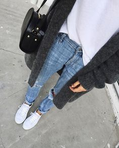 Pin for Later: 42 Easy Outfit Ideas Using a White Tee Half Tucked Into Jeans and Topped With a Cozy Open Cardigan