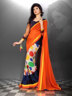 Orange Georgette Printed Saree With Blouse 66713