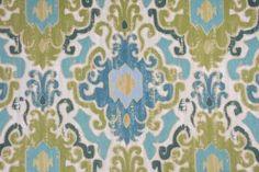 Mill Creek Toroli - Twill Printed Cotton Drapery Fabric in Aqua $15.95 per yard