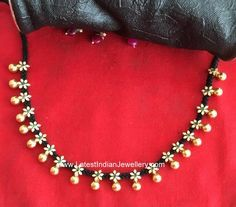 Check out the latest designer dori necklace with removable pendant. the tiny gold floral clasps with a gold ball drop adorn th. Jewelry Design Earrings, Gold Earrings Designs, Gold Jewellery Design, Necklace Designs, Beaded Jewelry, Beaded Necklace, Gold Designs, Diamond Jewelry, Ruby Necklace