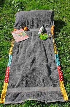 "If you're going to spend a few hours on the beach, why not get comfortable? <br /><br />Sew a pillow into your towel so your head isn't lying on the hard sand.<br /><br />Photo: <a href=""http://diy-enthusiasts.com/diy-fashion/diy-summer-bag-beach-towel-blanket/"" target=""_blank"">DIY Enthusiasts </a>"