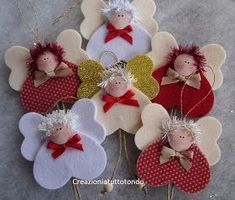 The Charm of Home: Inspiration for Christmas na Stylowi. Felt Christmas Decorations, Felt Christmas Ornaments, Christmas Angels, Christmas Time, Angel Ornaments, Angel Crafts, Christmas Projects, Felt Crafts, Holiday Crafts