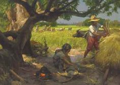 Rice Harvesting FERNANDO CUETO AMORSOLO (Filipino, 1892-1972)  Rice Harvesting  signed, inscribed, and dated 'F Amorsolo MANILA - 1946' (lower right); inscribed 'RICE HARVESTING by F.C. AMORSOLO MANILA PHILIPPINES' (on the reverse) oil on canvas  91 x 126 cm. (35 7/8 x 49 5/8 in.)  Painted in 1946