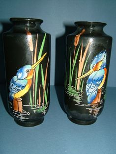 1920s Pair of Shelley Hand Painted Black Vases by BiminiCricket, $85.00