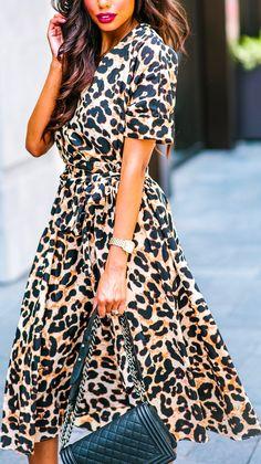 9bcdc15f6b1 Animal Print Wrap Dress Animal Print Dress Outfits