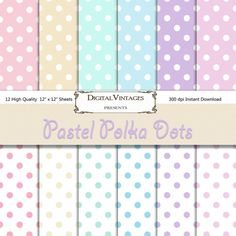 Have it All: Pastel Digital Paper, Polka dot background, instan. Polka Dot Paper, Pink Polka Dots, Polka Dot Background, Paper Background, Diy Envelope Template, Pastel, Free Baby Stuff, Digital Scrapbooking, Gift Tags