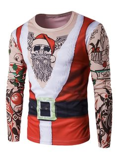 Long Sleeve 3D Father Christmas Costume Tattoo Print T-Shirt