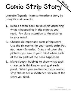 comic strip book report instructions