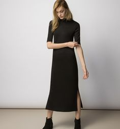 Fitted, calf-length dress in rib-knit jersey made from a ...
