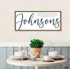 custom wood signs last name sign Family Wall Decor, Family Wood Signs, Dining Room Wall Decor, Family Name Signs, Farmhouse Wall Decor, Home Wall Decor, Quote Family, Kitchen Signs, Kitchen Wall Art