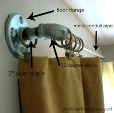 DIY: Make a galvanized curtain rod from plumbing parts - galvanized metal is great to use outside because it doesnt rust. Excellent tutorial.