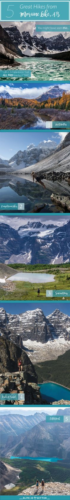 If you're planning a visit to Moraine Lake, make sure you check out some of the incredible hikes in the area. Climbing the rockpile will give you a stunning view, but there are so many more beautiful hikes in the area that get overlooked all the time! Visit our blog at Elitejetsetter.com for more info!  Things to do at Moraine Lake   Hikes in Banff National Park   Larch Valley   easy hikes near lake louise   Beautiful mountain views in Banff National Park.