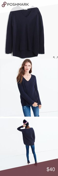 Madewell Woodside pullover Slouchy ribbed knit, very soft. Worn a couple of times, has a bit of pilling (as shown in last photo). Color is a true navy. Madewell Sweaters V-Necks