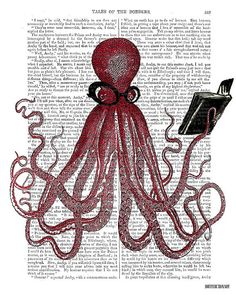 The Intelligent Octopus  Octopus Poster print by DottyDictionary, $15.00