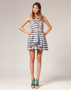 stripe dress by jaeger...I'd wear the dress not the shoes