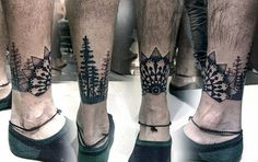 Star With Forest Of Trees Leg Band Tattoos For Men