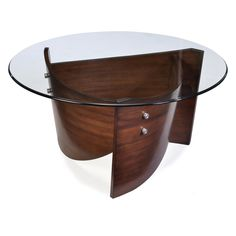 Have to have it. Magnussen Contour Round Wood and Glass Cocktail Table $409.99