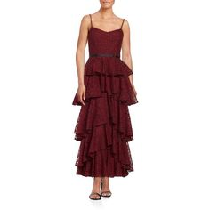 Cynthia Rowley Ruffled Lace Sleeveless Dress ($384) ❤ liked on Polyvore featuring dresses, burgundy, red sweetheart dress, sweetheart neckline cocktail dress, red cocktail dress, ruffle cocktail dress and cynthia rowley dresses