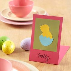 All it takes is a little cutting and folding to make this sweet chick place card for your Easter table! http://www.bhg.com/holidays/easter/crafts/easter-crafts-for-all-ages/?socsrc=bhgpin032315hatchedchickplacecards&page=19