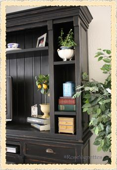 Black French Country Cabinet / Entertainment center Rose Vignettes