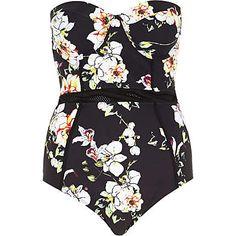 Black floral print mesh detail swimsuit £35.00