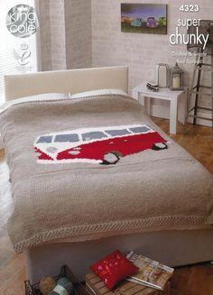Chunky Crochet Blankets Camper Van Bed Throws in King Cole Super Chunky – Deramores US - Double Bed Spread: Single Bed Spread: Double Bed Size, Double Beds, Vw Camper, Campers, Chunky Knitting Patterns, Baby Knitting, Kombi Trailer, Van Bed, Memory Foam