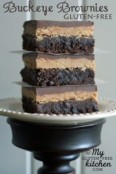 Buckeye Brownies {Gluten-free} Print A chewy, fudgy gluten-free brownie gets topped by a creamy peanut butter layer, then glazed with a s...