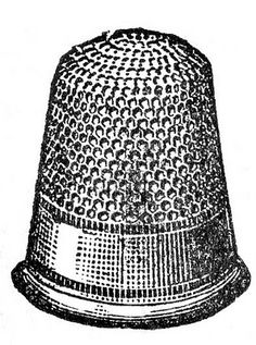 Vintage Clip Art - Black and White Thimble - The Graphics Fairy