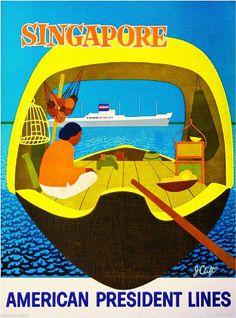 Singapore Southeast Asia Oceanliner Ship Vintage Travel Advertisement Poster