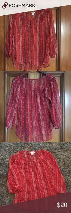 Lucky Brand Sheer Boho Paisley Blouse 🌿✨ Gorgeous Lucky Brand red paisley blouse made from sheer fabric. Beautiful paisley print perfect for the upcoming spring and summer seasons. Only worn once. Size Medium. Open to offers always! 🌻✨🌻💕💕 Lucky Brand Tops Blouses