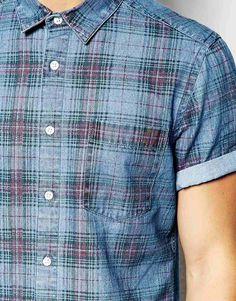Asos Denim Shirt In Check With Short Sleeves in Blue for Men   Lyst