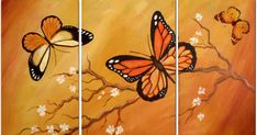 pictures of modern paintings for bedroom - Yoga Fitness Ideas Butterfly Painting Easy, Butterfly Art, 3 Piece Wall Art, Diy Wall Art, Multi Canvas Painting, Canvas Art, Pictures To Paint, Art Pictures, Bedroom Pictures