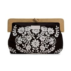 $85  wooden handle clutch - embroidery black-white
