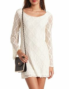 Bell Sleeve Lace Shift Dress: Charlotte Russe