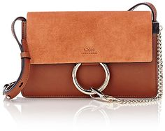 Chloé Tobacco supple grained leather Faye small shoulder bag styled with a suede front flap - affiliate