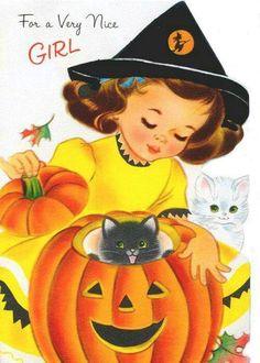 1962 Norcross Halloween Card Meant for a Very Nice Girl Retro Halloween, Spooky Halloween, Vintage Halloween Images, Halloween Prints, Halloween Pictures, Vintage Holiday, Holidays Halloween, Happy Halloween, Halloween Stuff