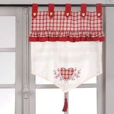 There are various kinds of curtains with various themes, as an example in this picture you can make your favored kitchen drapes window curtains curtains curtains inspirations curtains ideas Kitchen Curtains, Window Curtains, Cortinas Country, Curtain Inspiration, Red And White Kitchen, Stairs In Living Room, Red Cottage, Country Curtains, Custom Drapes