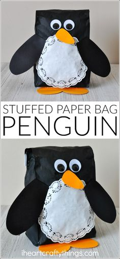 This stuffed paper bag penguin craft is adorable and makes a great winter kids craft, preschool craft and winter animal craft for kids.