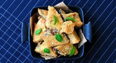 Delicious crispy baked aubergine bites, healthy and easy recipe.