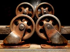 Heres a full and complete set of 4 vintage industrial casters with a luscious aged patina. Heavy duty thick steel wheels and forks rated to carry 125