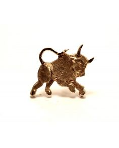 14K Yellow Gold Etched Bull Tie Tack